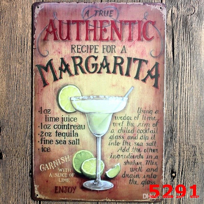 Medium Metal Tin Sign Wine Bar Pub Club Drink Glass Classic Cocktail Recipes
