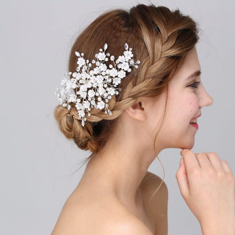New Arrival Handmade Floral Bridal Hair Accessories Clip Comb Wedding Headpiece Pearl Crystal Tiara Women Headwear