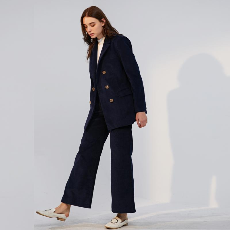 Bella Philosophie Herbst-Winter-Corduroy Wide Leg Büro Hose-beiläufige flache Mid feste Frauen Streetwear Frauen Hosen Y200418