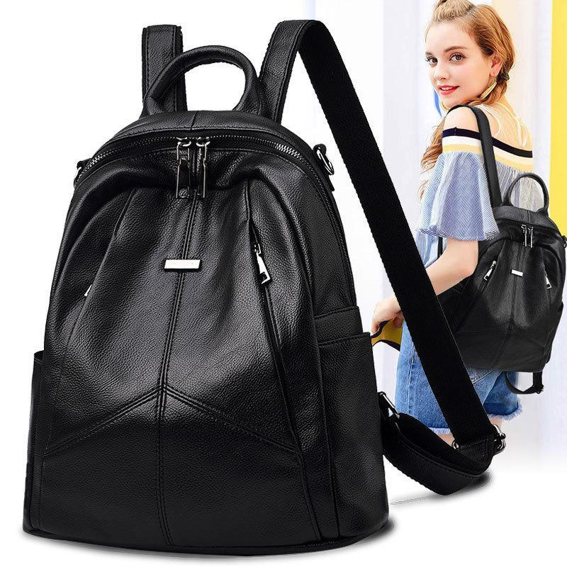Koreanischer Stil 2020 neue Art-Mode Große Tasche aus weichem Leder zufälliger Rucksack Damen-Rucksack bookbag Laptop