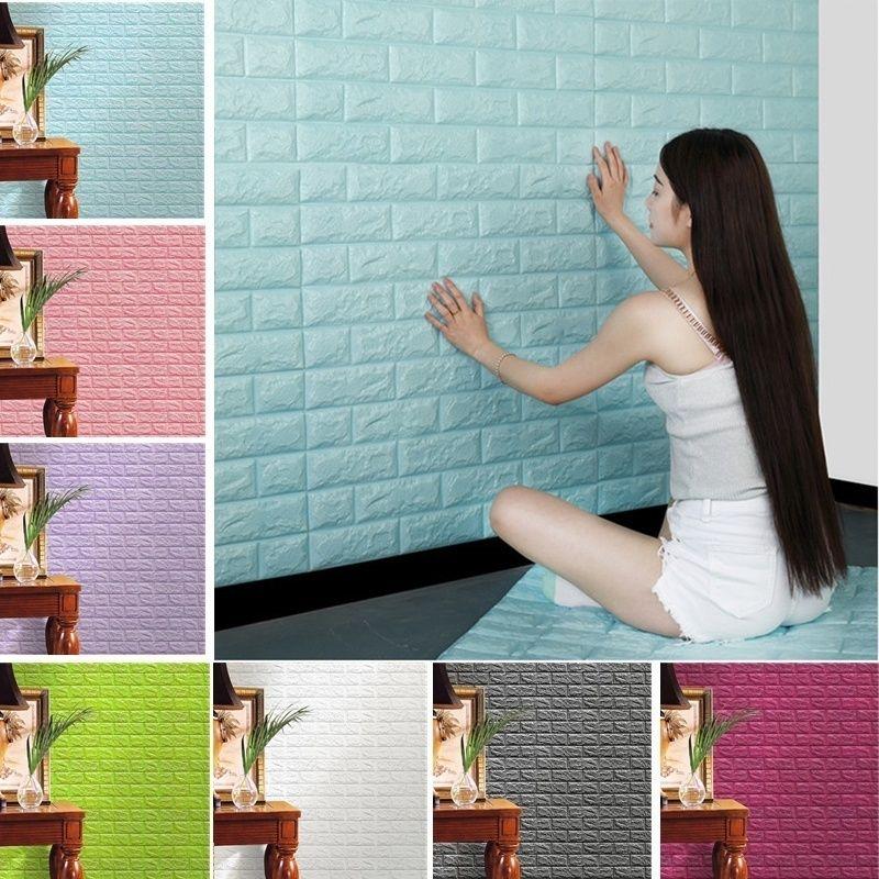 المنزلية الإبداعية 3d خلفيات pe رغوة diy ملصقات الحائط الديكور جدار ديكور المنزل تنقش الطوب الحجر غرفة المعيشة خلفية