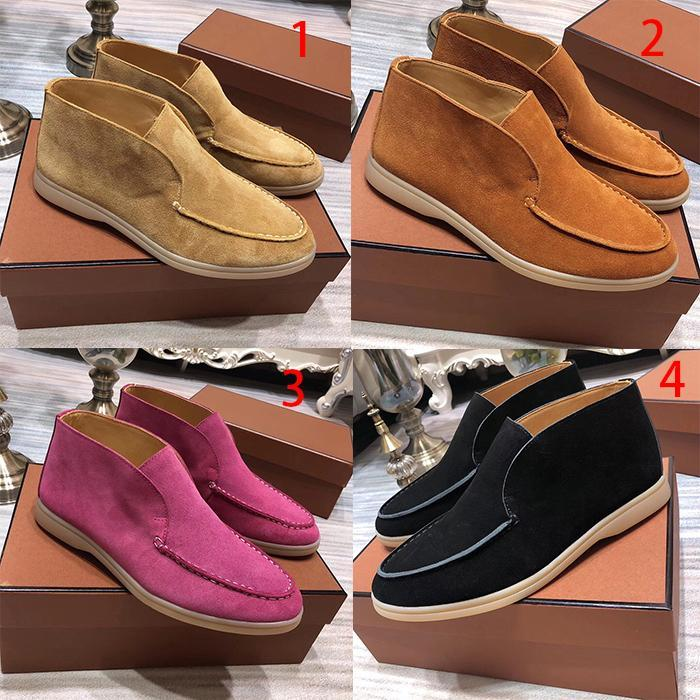 Open walk casual shoes 2019 new cow reverse velvet one foot flat sole Lefu shoes high top mens and womens short boots with box and dustbag