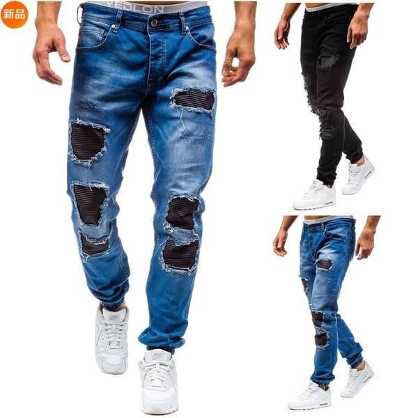 Dark blue wash ripped men's holes cotton jeans men's slim fit moto biker jean fashion dropshipping plus size denim pants