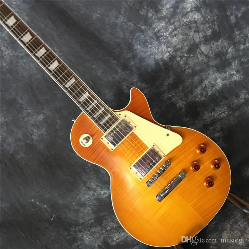 중국에서 무료 배송 새로운 브랜드 2020 전자 기타 브랜드 OEM + 색상 황색 전기 기타