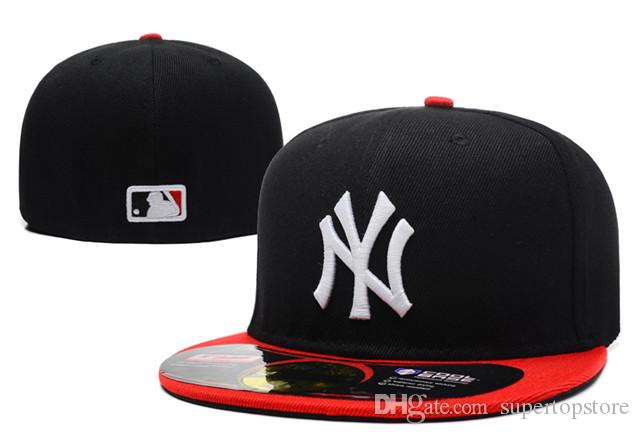 2020 HOT Sale Popular Hip Hop Men's Sport Team Fitted Caps On Field Full Closed Design Solid Color new york NY Size Baseball Fitted Hats