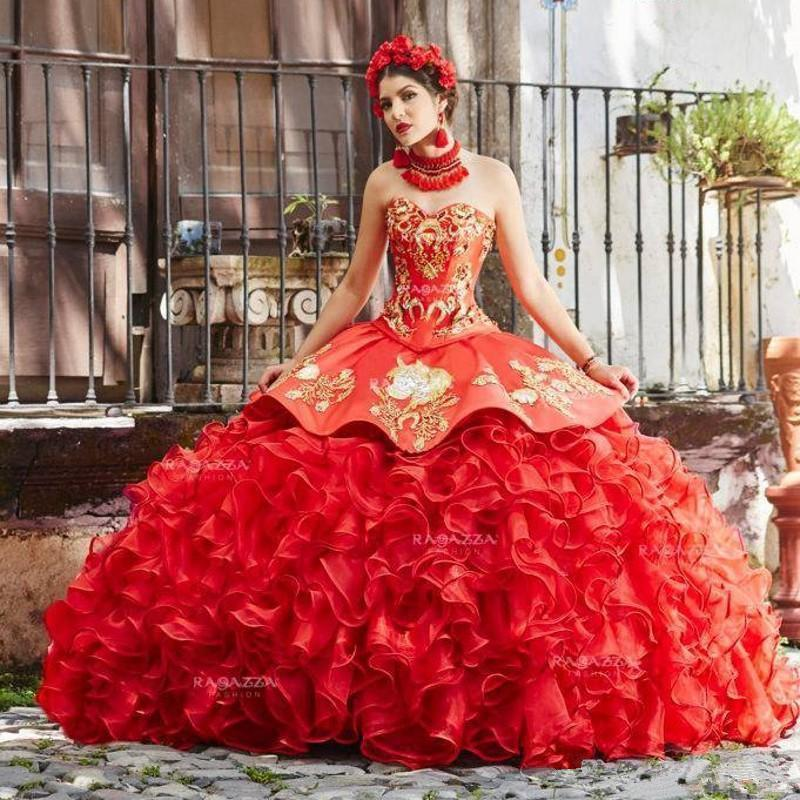 Red Ball Gown Quinceanera Dresses Sweetheart Puffy Skirt Beads Sweet 15 Dress Tulle Lace Prom Gowns Pageant Dress