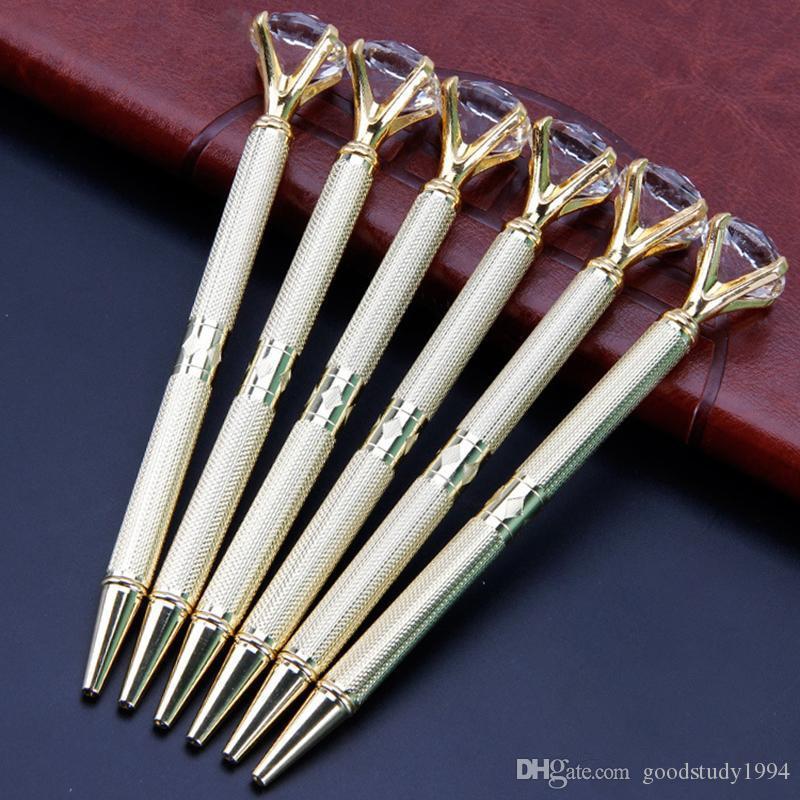 Forniture Pubblicità Firma Penna regalo Studente di scuola della penna di cristallo Scultura Gold Metal Penne a sfera Super Diamond Wedding Ufficio di scrittura