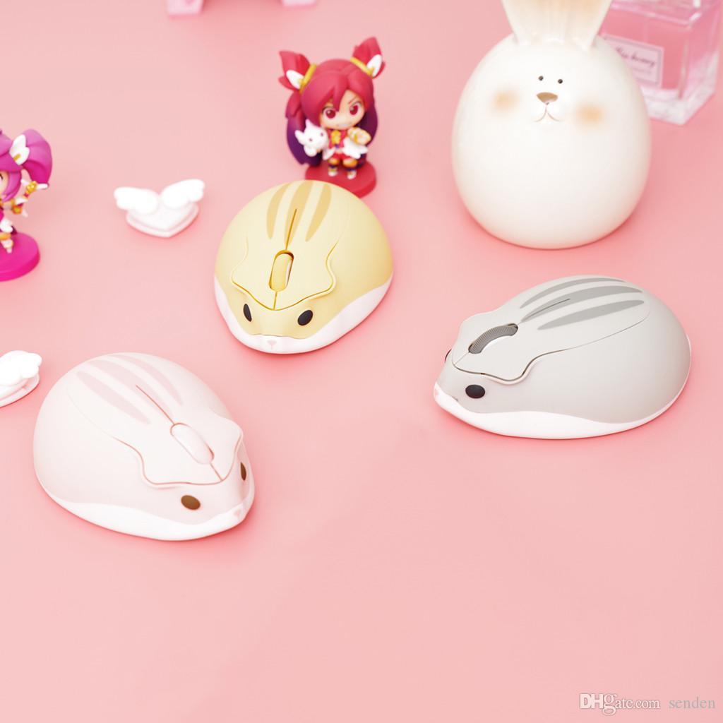 Hamster de dibujos animados con forma de hámster de 2.4GHz Ratón inalámbrico 4000dpi Conexión USB Ratones lindos Animal Gaming Cricetulu Mouse para PC Laptops Niños Gama Regalo