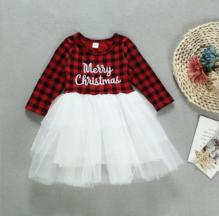 Baby Girls Ins Joyeux Noël robe de bal Robe pour enfants Mode Robe classique Plaid patchwork Tulle enfants Tutu élégante robe