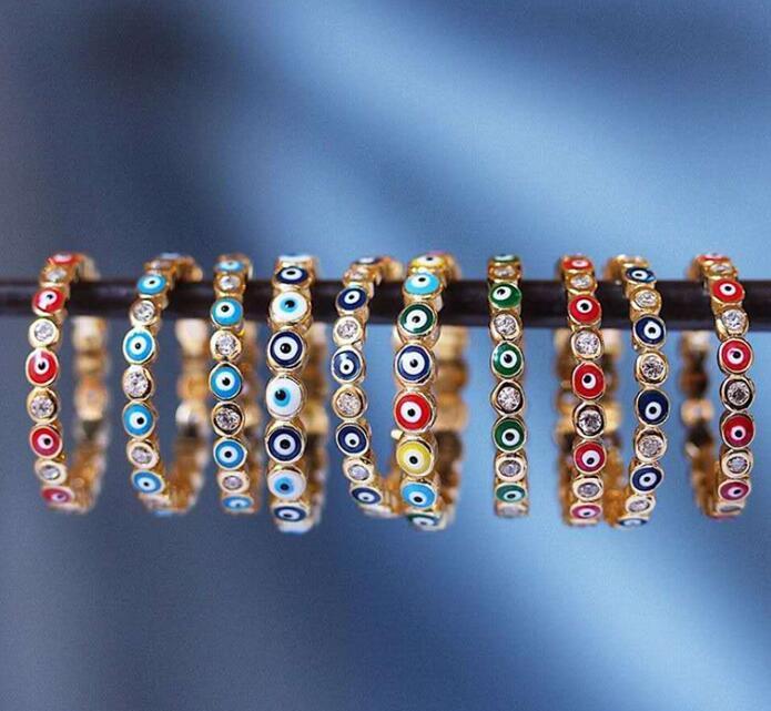 شر العين خواتم خواتم التركية للنساء خواتم الاصبع ميدي مطلية بالذهب الهيب هوب المجوهرات التركية مجوهرات مسلمة