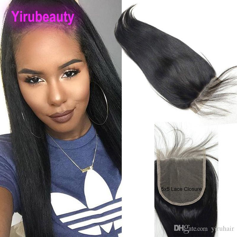Peruvian Human Hair Top Closures 5X5 Lace Closure With Baby Hair 5X5 Hair Products 8-26inch Middle Three Free Part yirubeauty