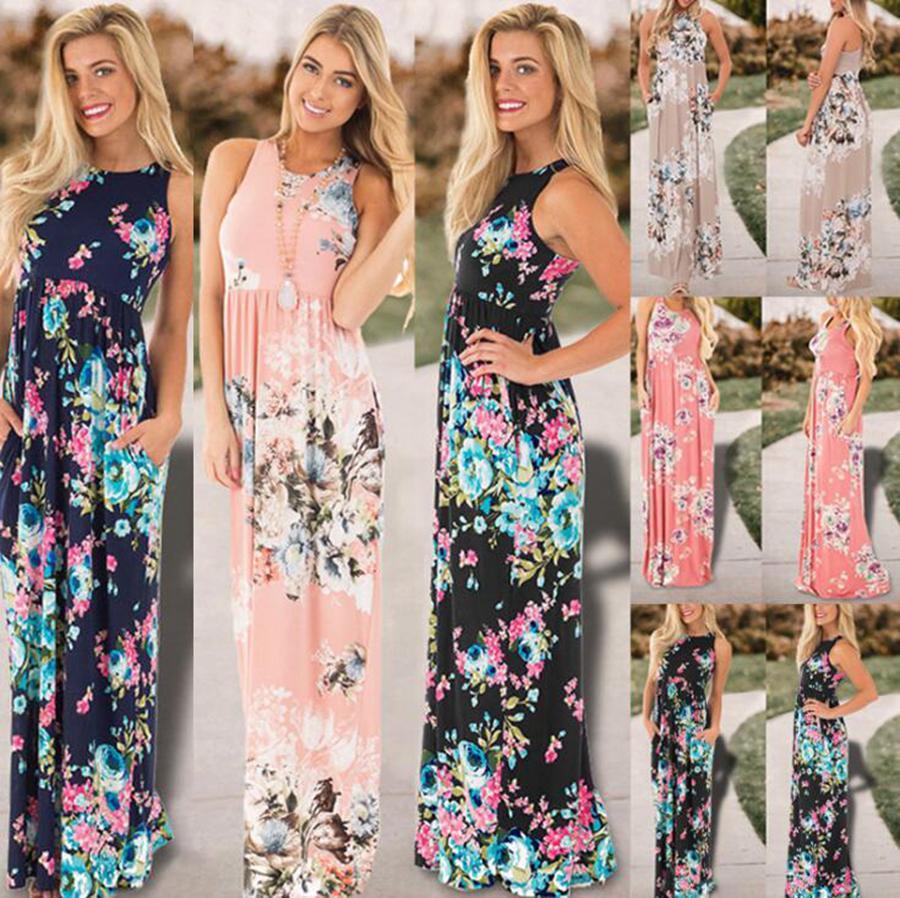 UK Women Bohemia Evening Long Dress Summer Club Printed Floral Loose Maxi Dress