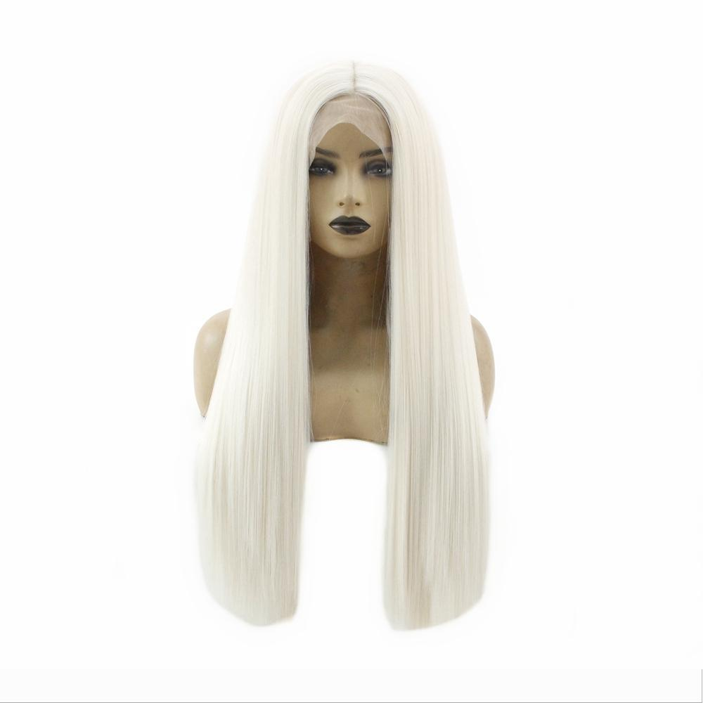 Largo recto rizado sintético Platinum Blonde pelucas sin cola del frente del cordón pelucas para mujeres de mirada natural del pelo de la fibra resistente al calor