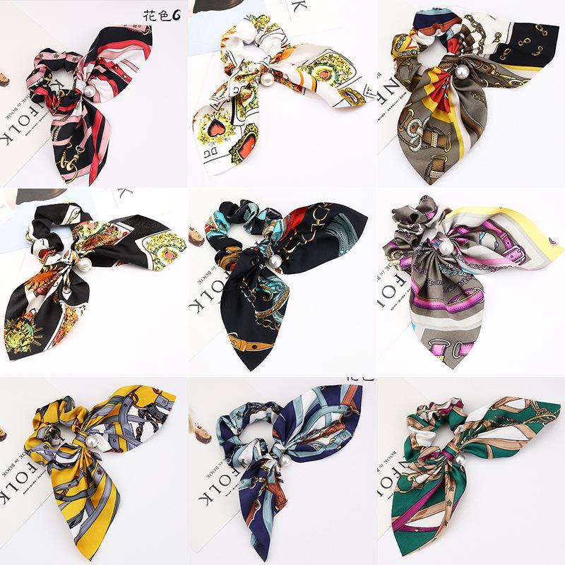 13 farben Pferdeschwanz Schal Elastisches Haar Seil für Frauen Haarschleifen Haargummis Haarbänder Blumendruck Band Haarbänder