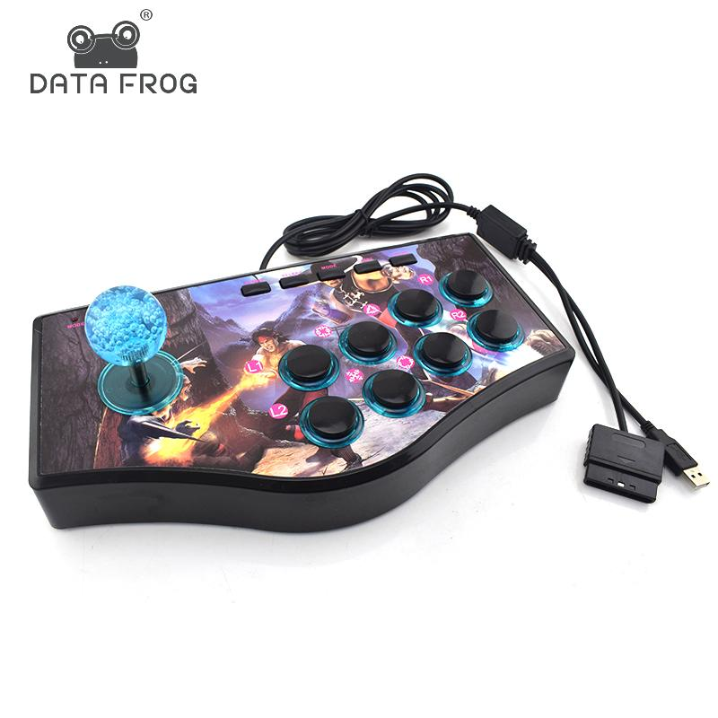 Daten Frog Benutzerdefinierte Arcade Game Joystick USB Rocker Game-Controller für PS2 / PS3 / PC Für Xiaomi / Samsung Android Phone Play Games