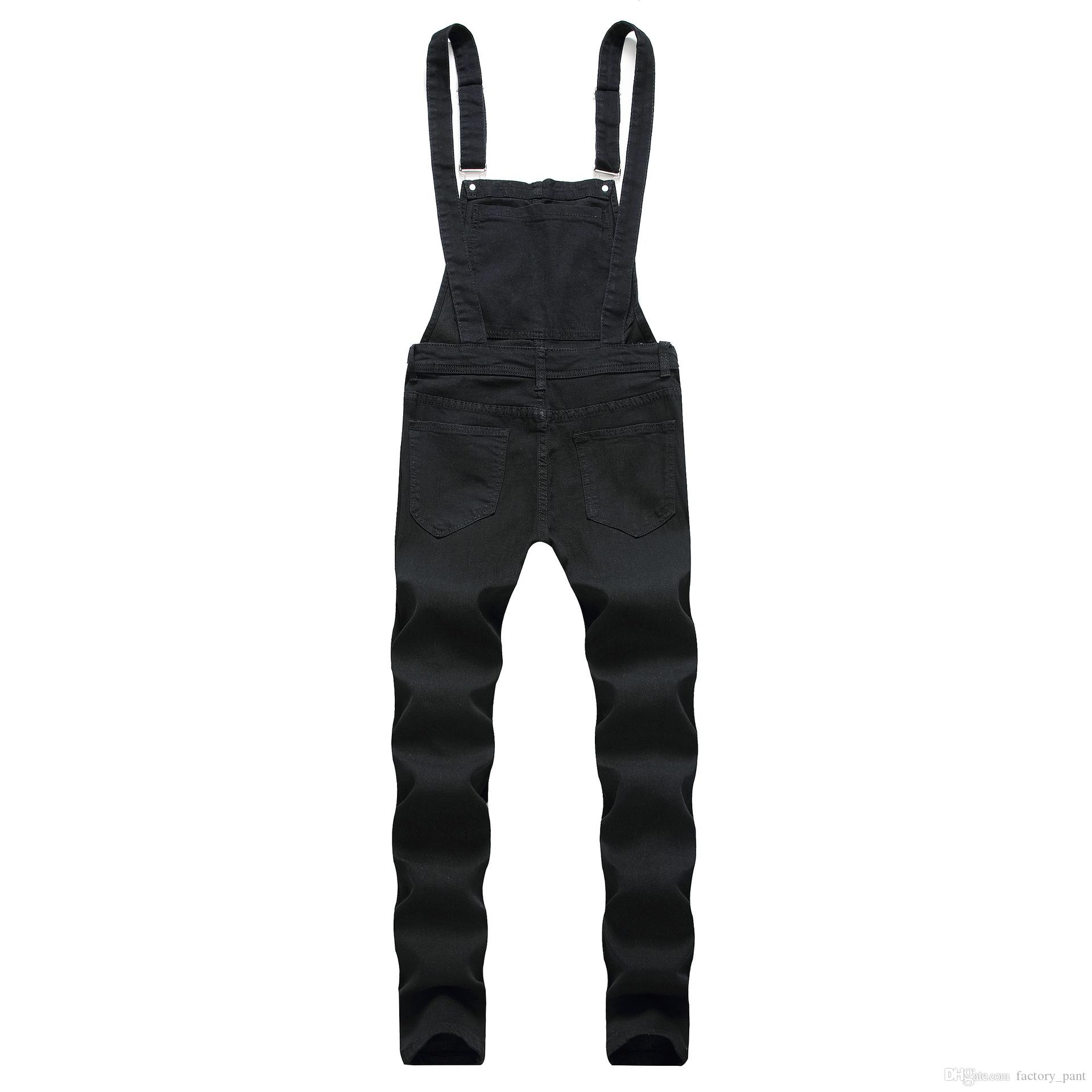 2019 Oversize Fashion Men's Ripped Jeans Jumpsuits Summer Hi Street Distressed Denim Bib Overalls For Man Suspender Pants 3XL