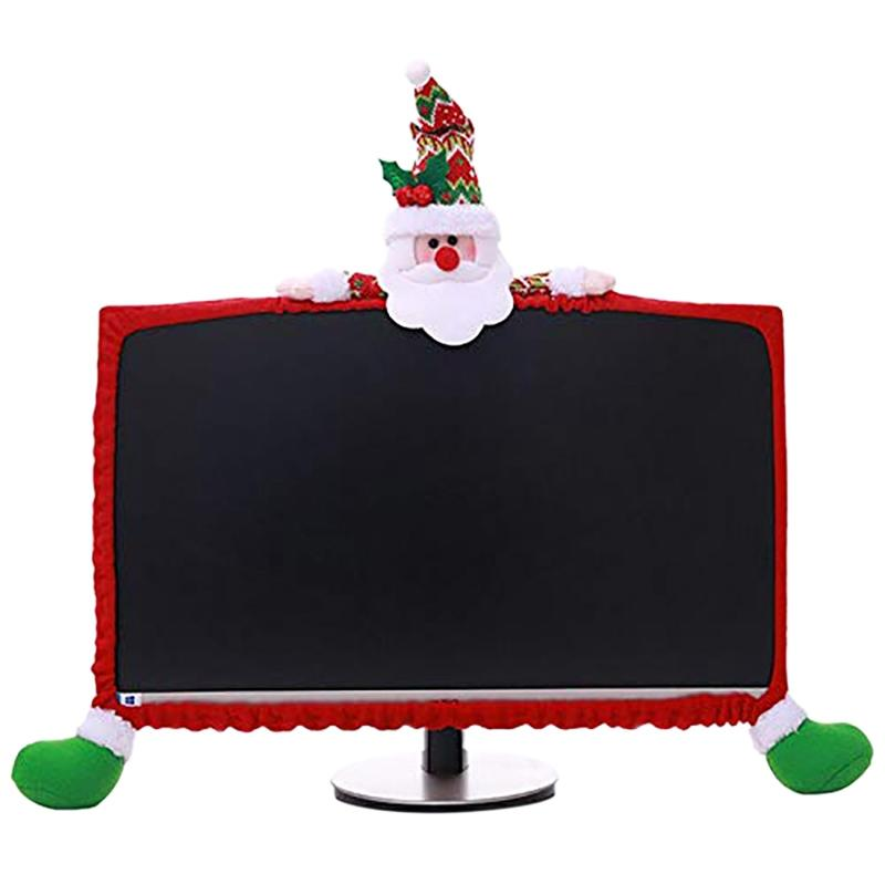 Christmas Computer Monitor Cover Cute Claus Decoration for Home Office Gift
