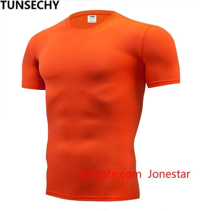 TUNSECHY Moda color puro camiseta de la compresión de los hombres de manga corta apretada camisa camisetas de transporte S-4XL ropa de verano gratuito