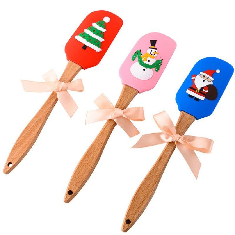25 * 5cm mantequilla cuchillo raspar la torta de Navidad patrón de cocina para hornear herramientas de silicona de grado alimenticio mango de madera espátula