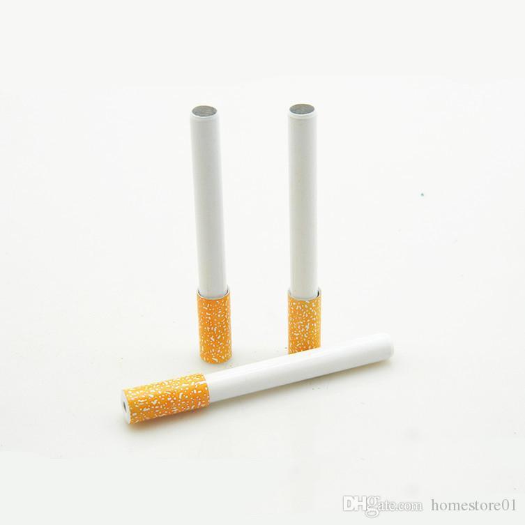 Forme de cigarettes Printemps métal Pipes Mini tabac fumeur main Pipes Snuff Accessoires Tube en aluminium Bat fumeurs avec écran
