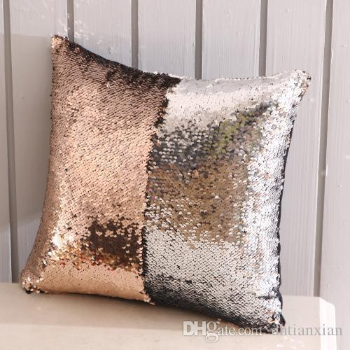Sequin Mermaid Cushion Cover Pillowcase Magical Glitter Throw