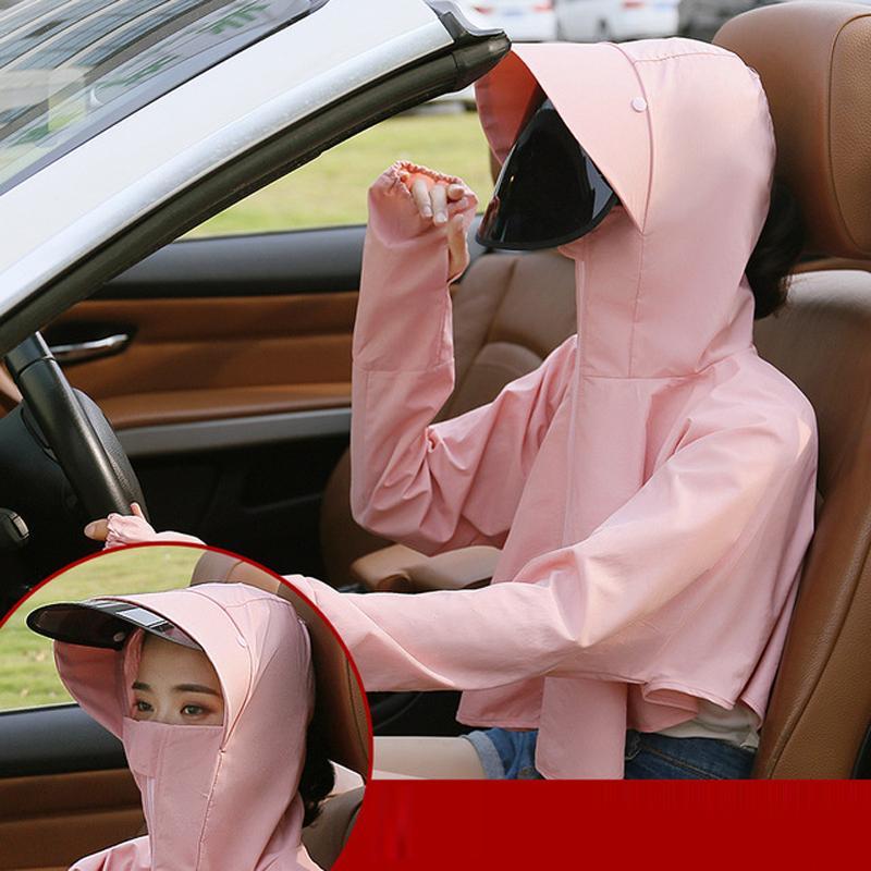 Máscara UV face Proteção Brasão por Mulheres Criança Hat Boca Eye Anti-Saliva de Verão ao ar livre com capuz Protetor solar