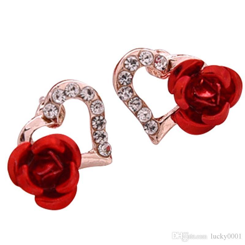 New Trendy Cor de Ouro de Cristal Em Forma de Coração Do Parafuso Prisioneiro Brincos Para As Mulheres Rosa Vermelha Flor Do Parafuso Prisioneiro Brincos Presente Do Dia Dos Namorados