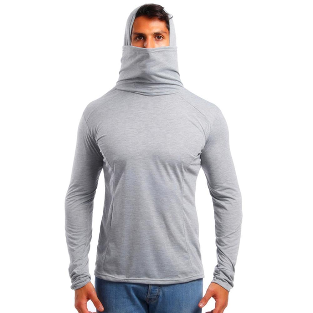Nouveau T-shirt pour hommes Automne Élastique de remise en forme Capuche T-shirt à manches longues T-shirts Homme Crâne Masque Costume Ninja Slim T-shirts