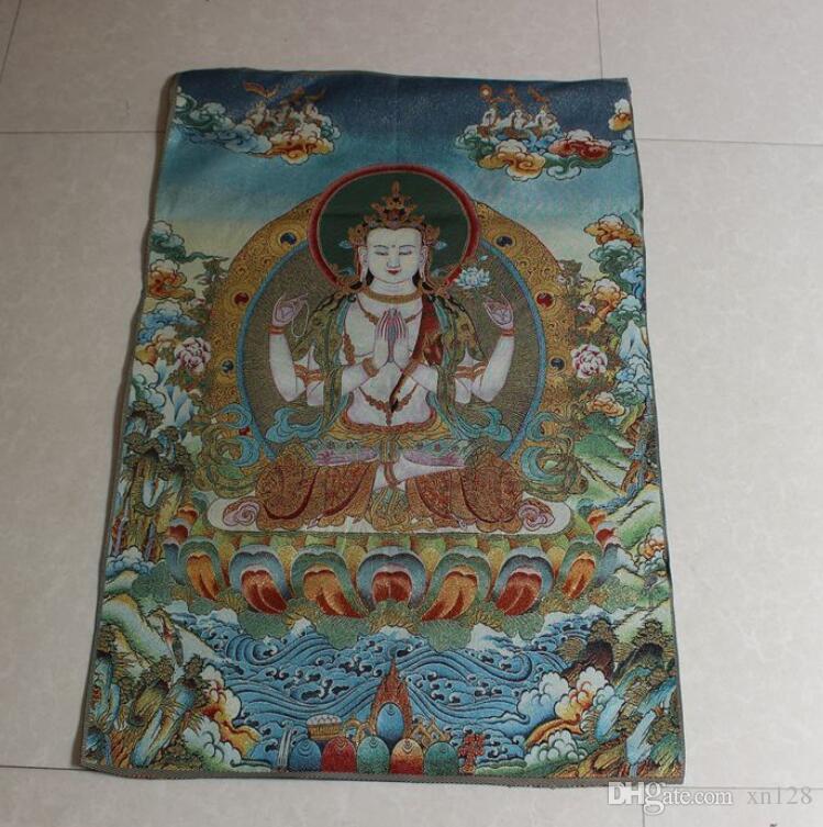 nuovo stile all'ingrosso Thangka pittura decorativa appesa pittura stanza Maitreya Kwan Yin Shakyamuni Buddha statue Manjushri Pusa vivente
