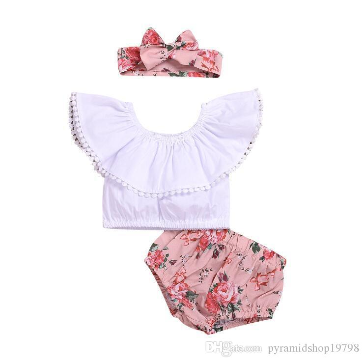 2 styles kids clothing 2019 baby Summer fashion t shirt Top+PP shorts+Hair baby girl clothes 3 piece Set kids designer clothes girls