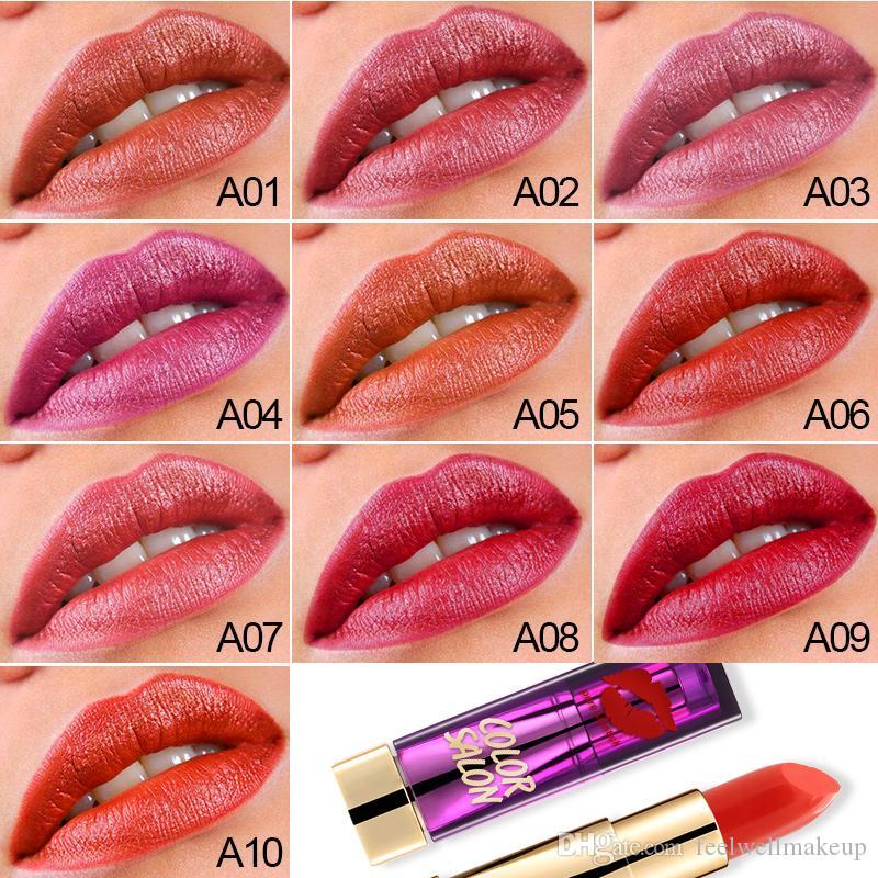 Color Salon Lipstick 3.8g Moisturizing Lip Larga duración a prueba de agua Mate Tint maquillaje batom Sexy color Lipstick venta caliente