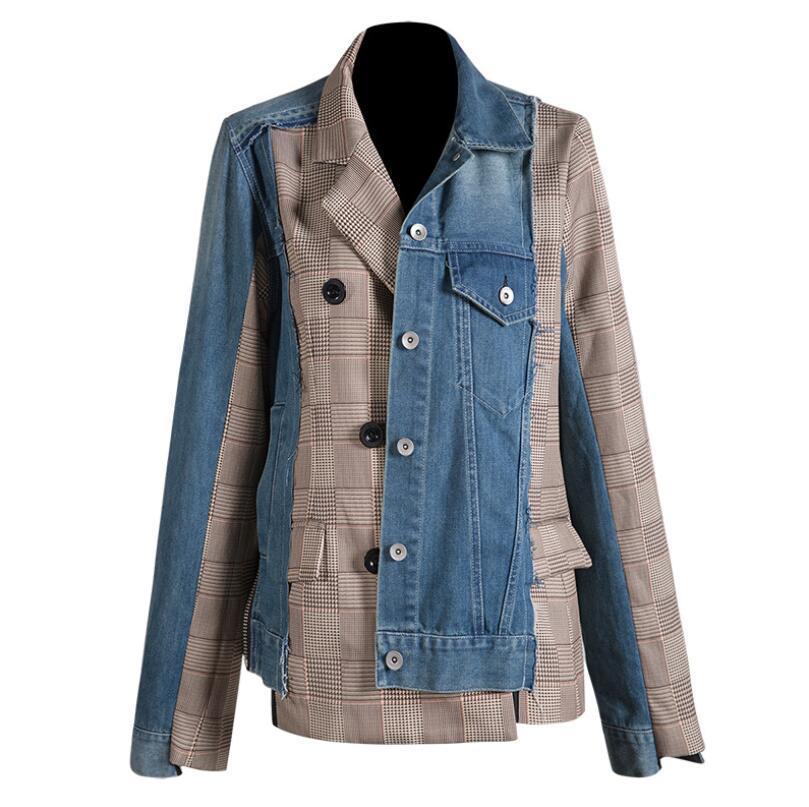 2020 Primavera Outono lapela manga comprida Denim manta Dividir Blazer mulheres Joint Irregular solto Jacket Mulheres Suits Brasão Moda Tide w571