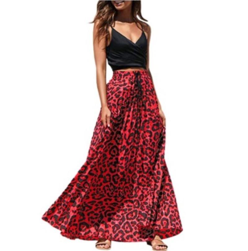 Tasarımcı Leopard Baskı Etekler Yüksek Bel Seksi Bayanlar Kontrast Renk Etekler Kadın Ayak bileği Uzunluğu kadın giyim
