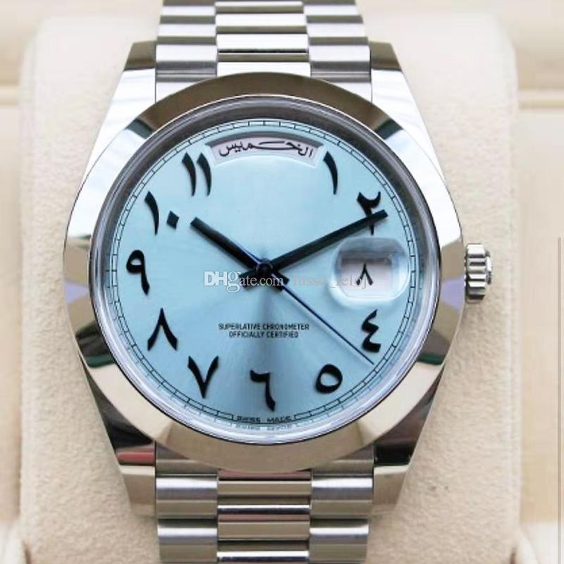 2020 männer mens watch 41mm saphir tagsdate alte arabische automatische mechanische uhren weiten bewegung edelstahl band armbanduhren