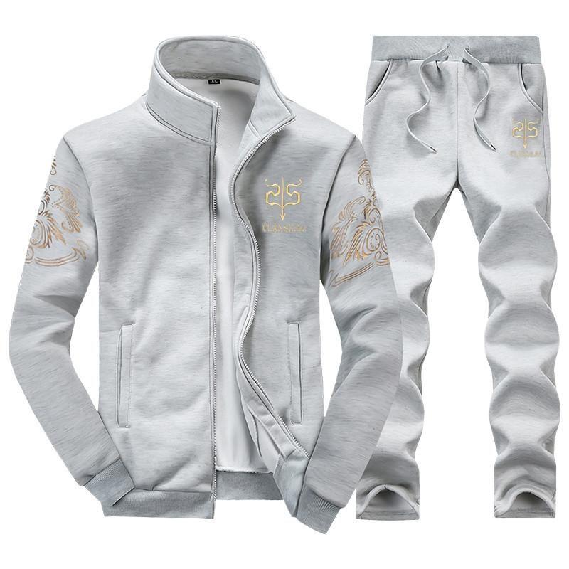 MenS Sportwear Suit Sweatshirt Tracksuit Without Hoodie Men Casual Active Suit Zipper Outwear 2pc Jacket +Pants Sets Tide