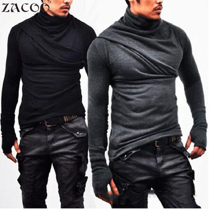 camisa ZACOO Gothic Homens Preto T Collar Sólidos shirt Heap Super manga comprida com tops quentes san0 Luvas T casuais dos homens sólido