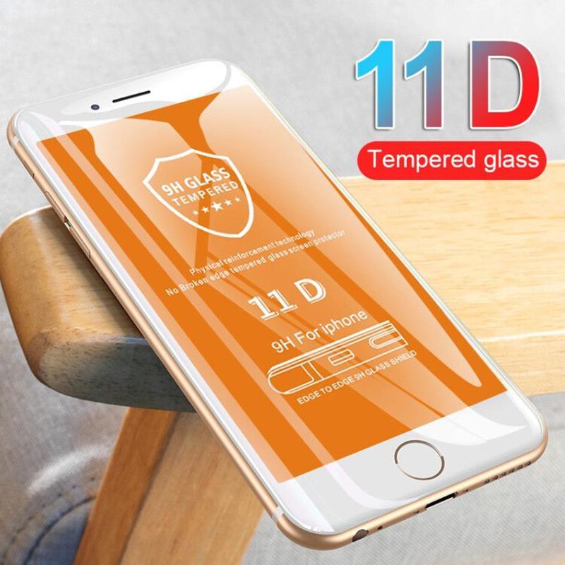 11D de borde curvado cristal protector de la pantalla para el iPhone 6 7 8 6S Plus templado del protector para el iPhone 11 Pro XS Max XR