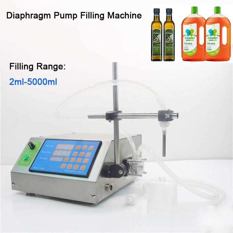 Navio livre Via DHL! 2ml-5000ml bomba de diafragma pequena garrafa Filler Juice tinta Perfume Oil bebidas Vial líquido máquina de enchimento semi-automática