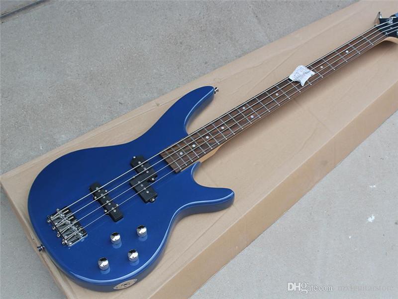Fabrika Gülağacı Klavye ile Özel Mavi Elektrik Bas Gitar, 4 Strings, 22 Fret, Krom Donanım, Özelleştirilmiş Teklif