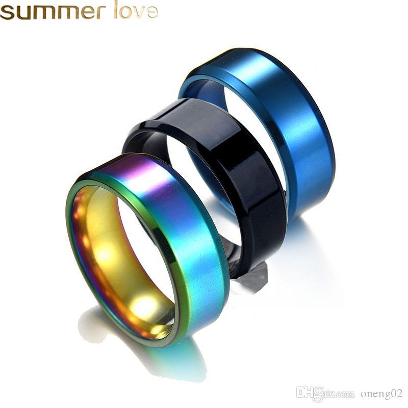 Moda 8mm Rainbow Ring para homens Mulheres Titânio Aço Casamento Banda Anéis Fit Tamanho 5-13 Jóias Presentes