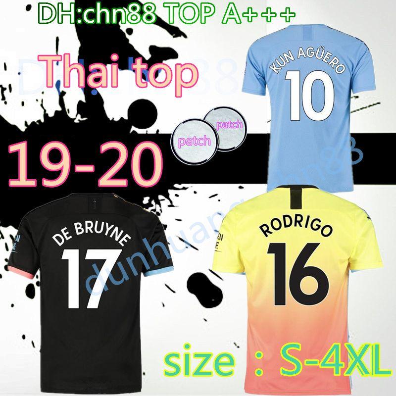 حجم كبير 2XL 3XL 4XL الأعلى تايلند JESUS DE BRUYNE KUN AGUERO 19 20 مانشستر لكرة القدم جيرسي المدينة 2019 2020 بالقميص الشبكات والإرشاد قميص كرة القدم