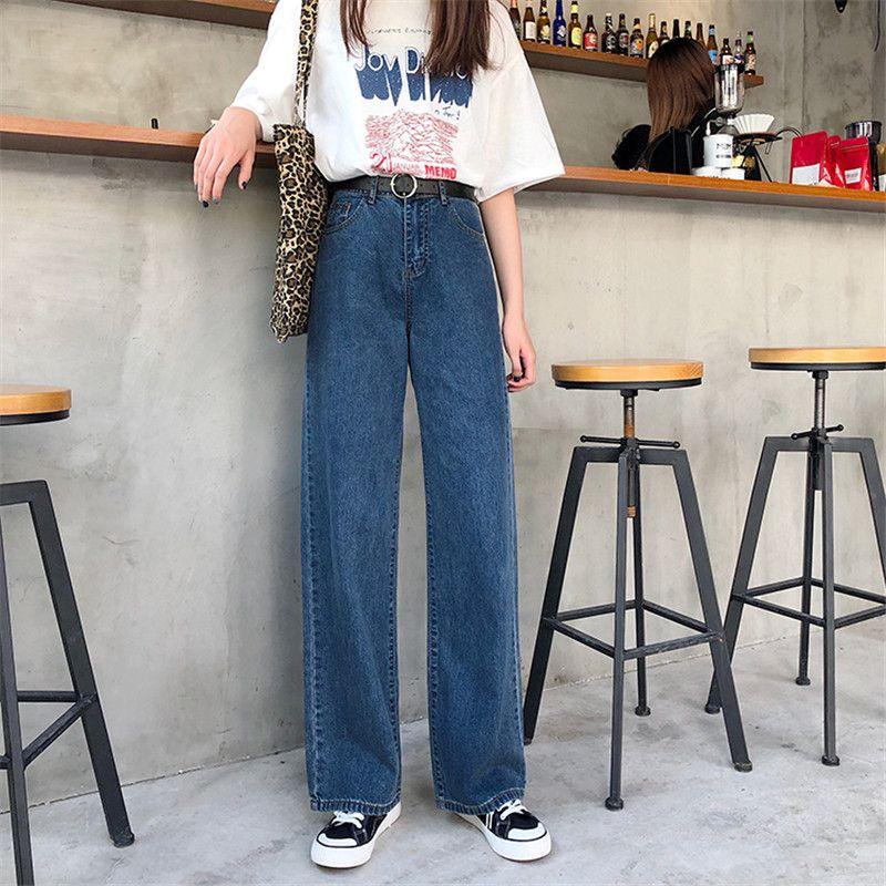 Jeans lavados Mulher Nova 2020 de Primavera Mulheres Jeans Fina Seção de cintura alta Tamanho Grande Casual Vertical calças largas-leg Calças