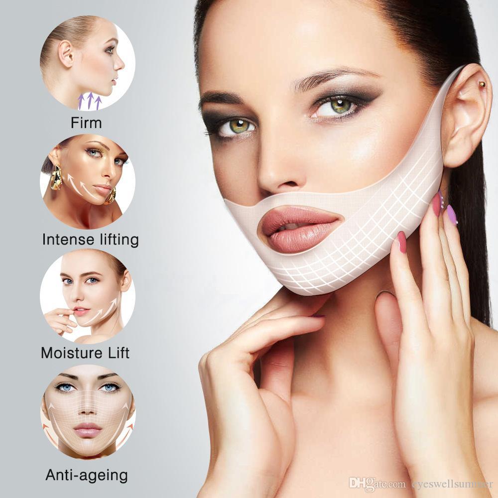 ELAIMEI лифтинг маски V Форма лица Тонкий Chin Check шеи 4шт Lift отрывной маска для похудения бинты Shaper кожи уход
