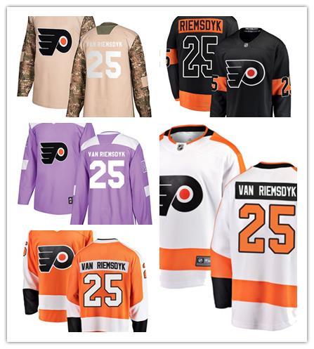 info for ed48e 8e38a 2019 Philadelphia Flyers Jerseys #25 James Van Riemsdyk Jersey Ice Hockey  Men Women Youth Orange White Black Green Camo Stiched Fanatics Jerseys From  ...