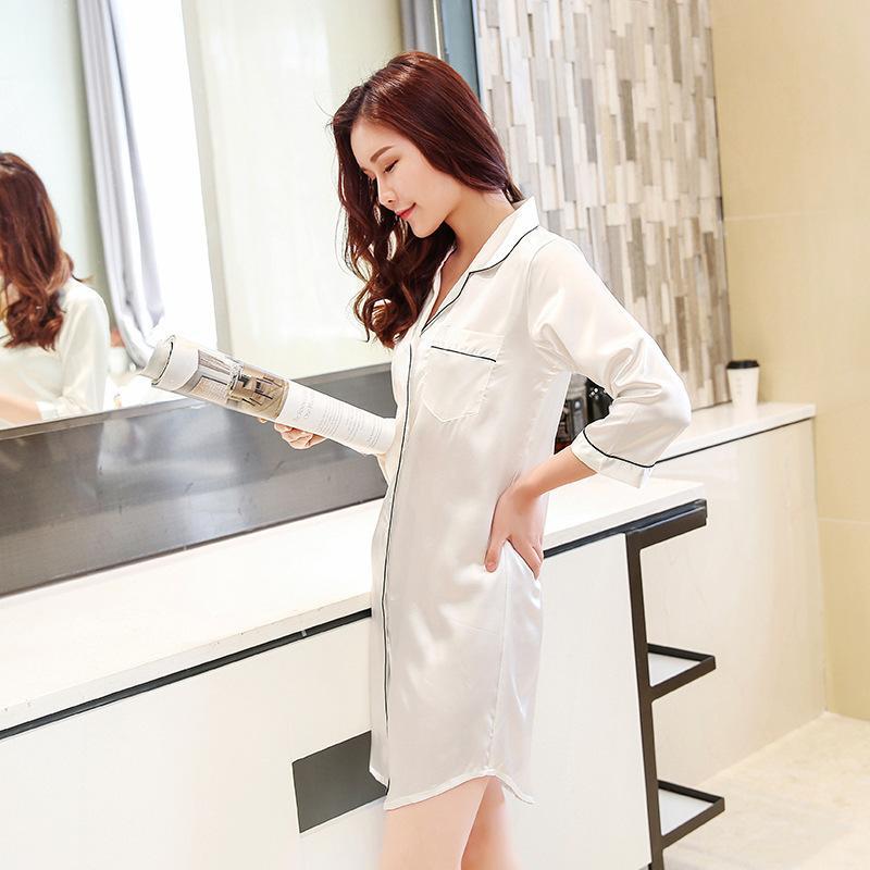 Boyut M-xxl Uyku Salonu Gecelikler Sleepshirt Pijama Bf Tarzı Gece Kıyafeti Kıyafeti Kadınlar Sexy Lingerie Kapalı Elbise S703