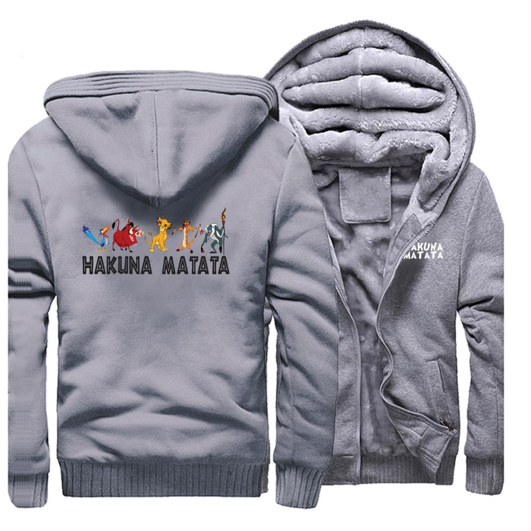 하쿠나 마타타 인쇄 두꺼운 후드 티 심바 운동복 패션 브랜드 후드 만화 스트리트 라이온 킹 남성 겨울 따뜻한 재킷