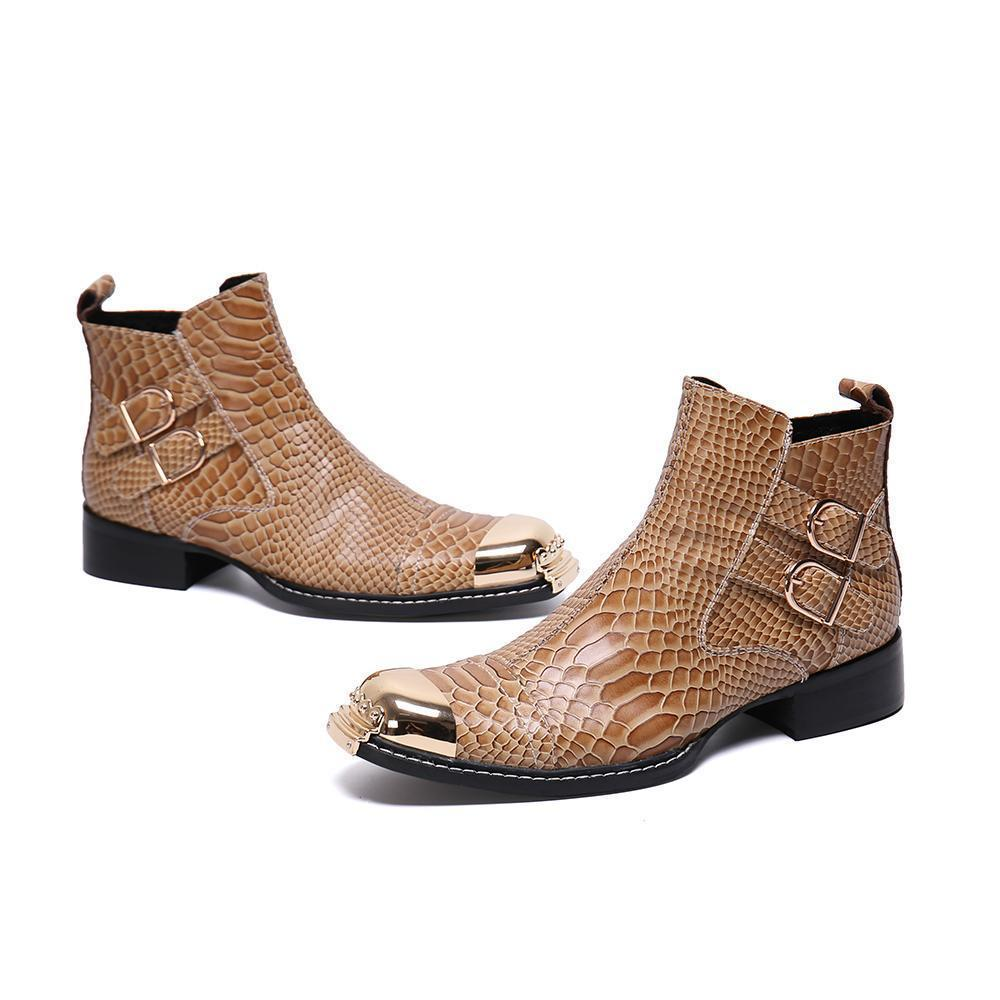 Hot Vente- Bella Nouveau peau de serpent réel en cuir pour homme court Bottes de cow-boy en métal carré Toe taille cheville Bottes plus Chaussures en cuir formel