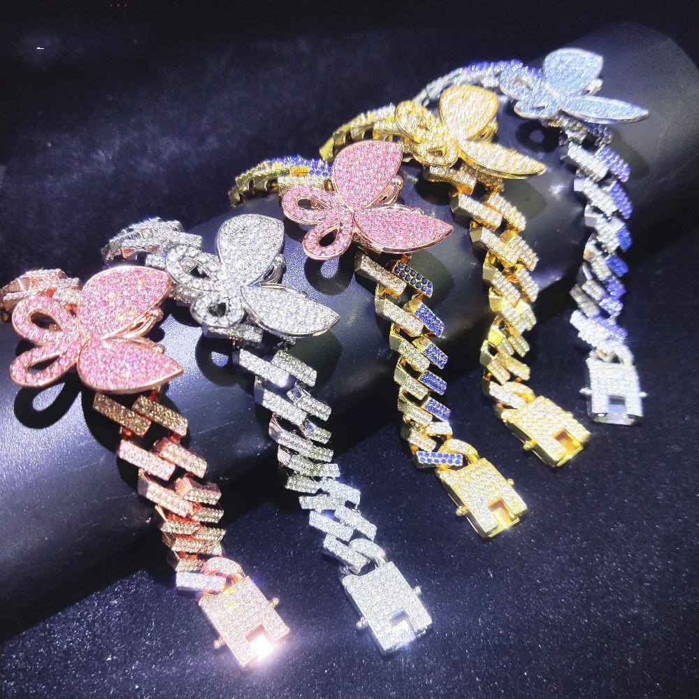 Мода Iced Out Bling бабочки Choker ожерелье Золото Серебро Цвет 15мм Теннис цепи Hip Hop Ювелирные изделия для мужчин женщин