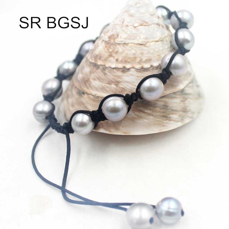 """Di trasporto 8-9mm quasi rotondo perla d'acqua dolce del cavo a mano Knot donne registrabili Bracciale Pearl 7"""""""