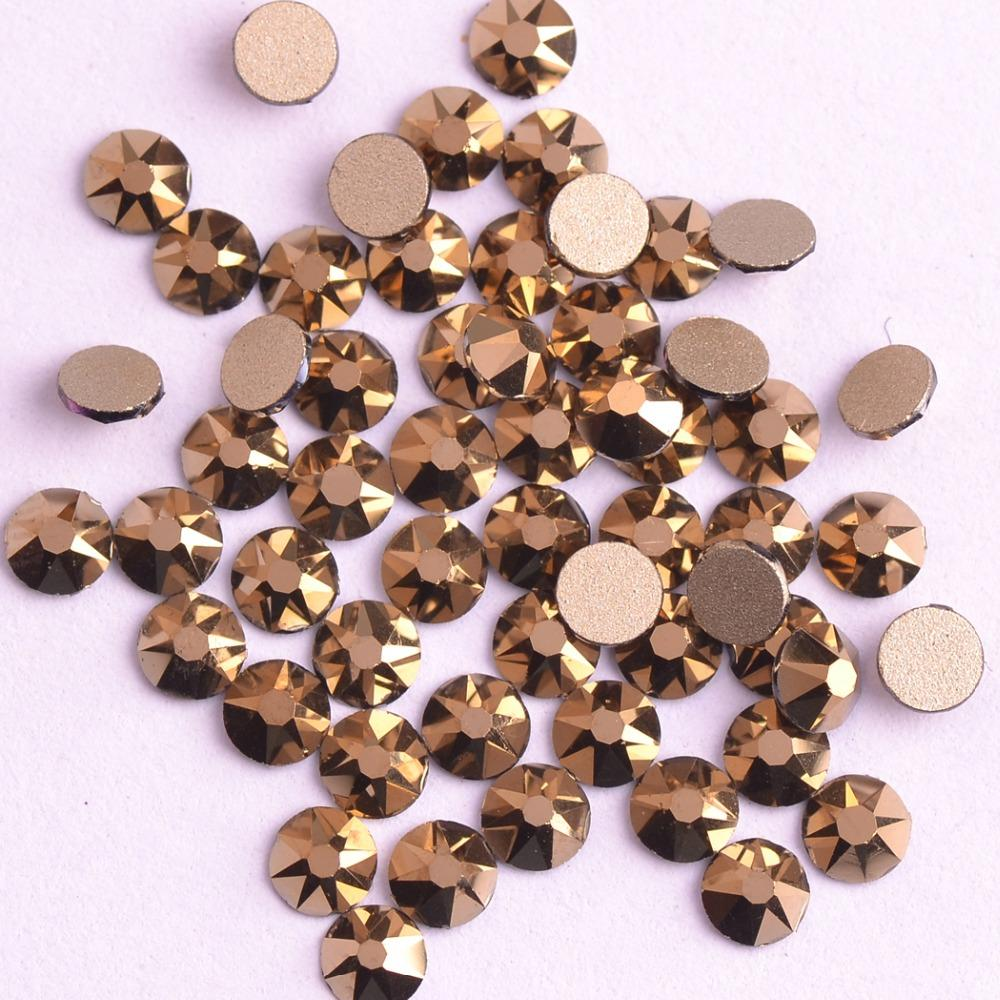 Zziell Novo 2088 Cut Crystal Aurum Mine Ouro Hematite16 facetas 8 + 8 Não hotfix Nail Art Strass Base de Ouro para Unhas Artes